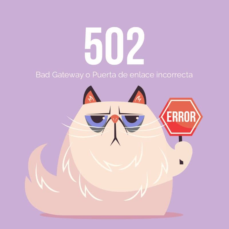 Cat vector with signboard error 502