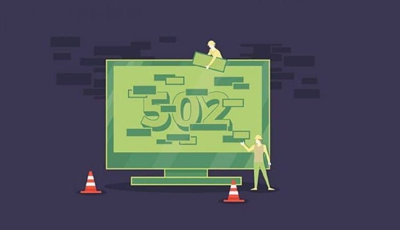 Green vector of Error 502 Bad Gateway on laptop