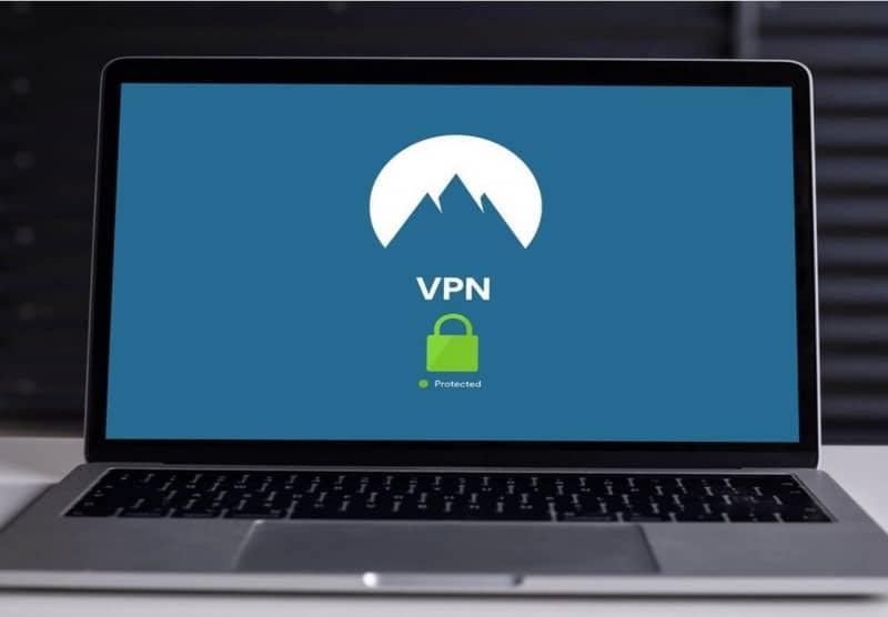 Laptop Screen with VPN Logo