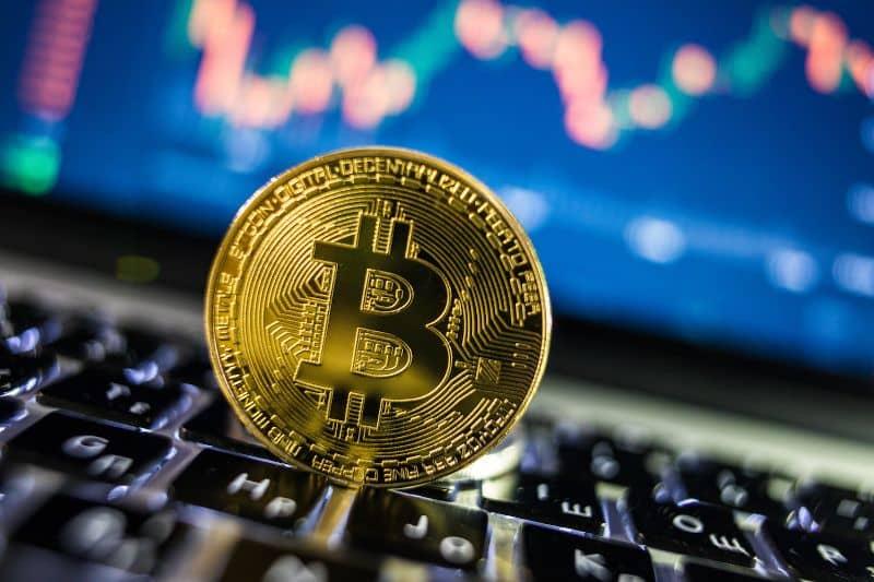 Bitcoin on laptop keyboard