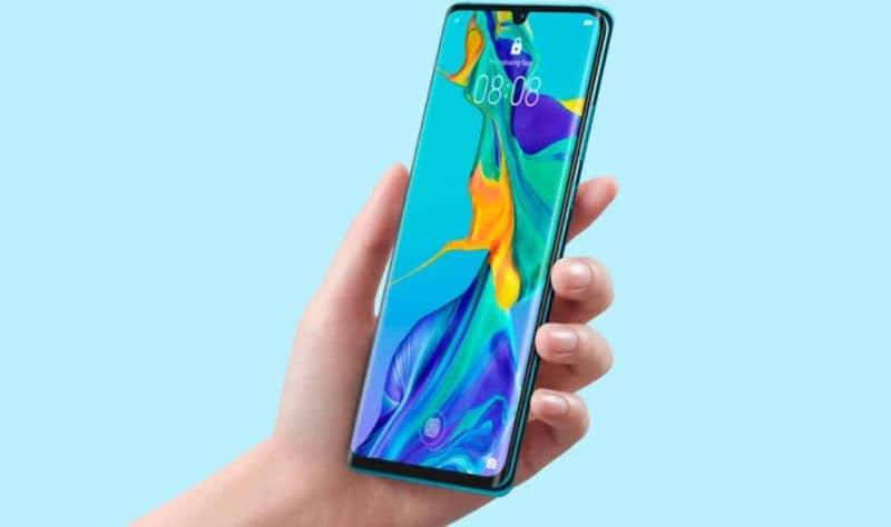 Huawei mobile, blue background