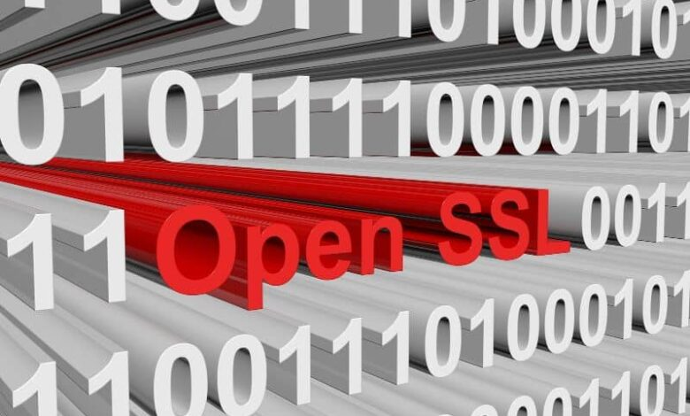Open ssl red letters white letters background