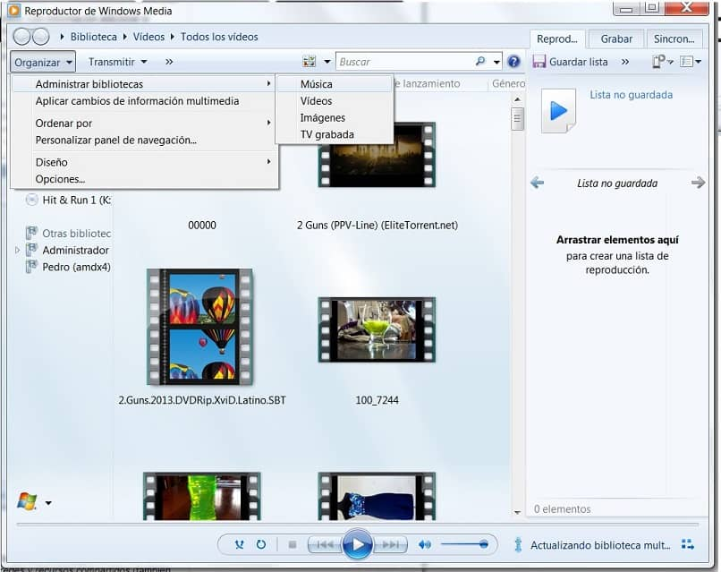 Windows Media Player in Manage Library option