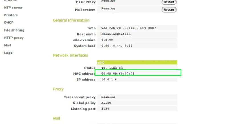 MAC filtering configuration