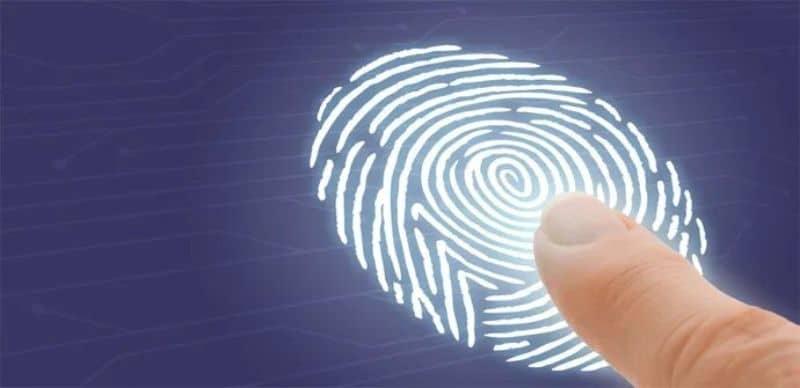 finger and large fingerprint on surface