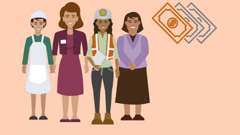 different women next to money icon with light background