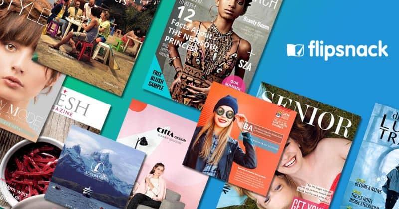 different viewable magazines blue background