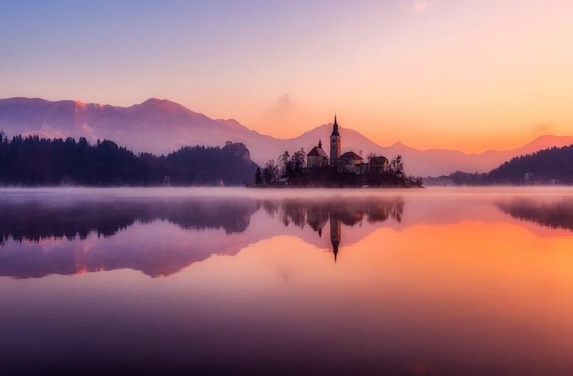 sunset view on lake