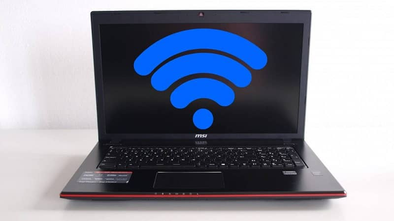 Laptop and wifi symbol