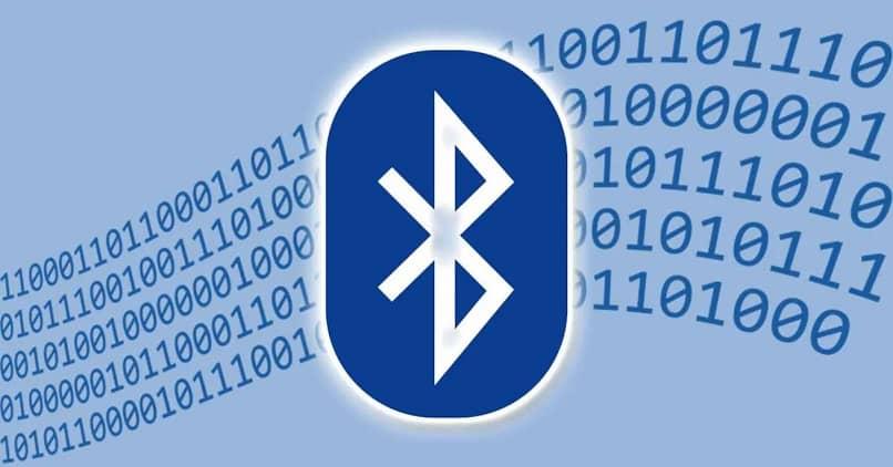 bluetooth logo on a blue background