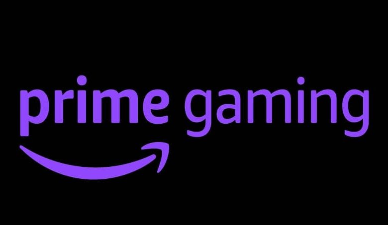 prime gaming purple letters black background