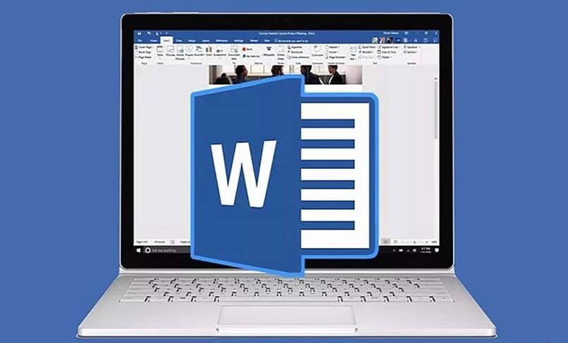 word logo with pc background