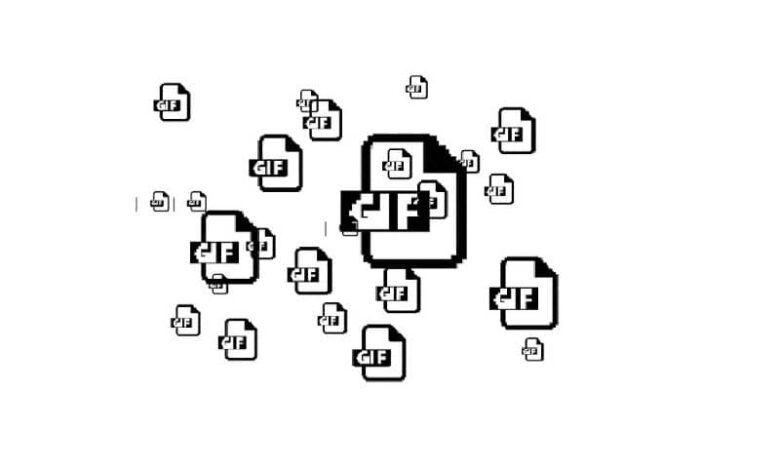 many gif icons in black color and white background