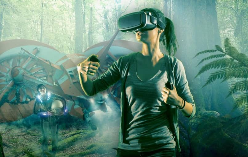 woman using virtual reality simulates escaping from her crashed spaceship in unknown jungle