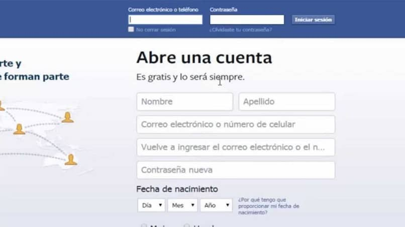 Facebook main page to log in