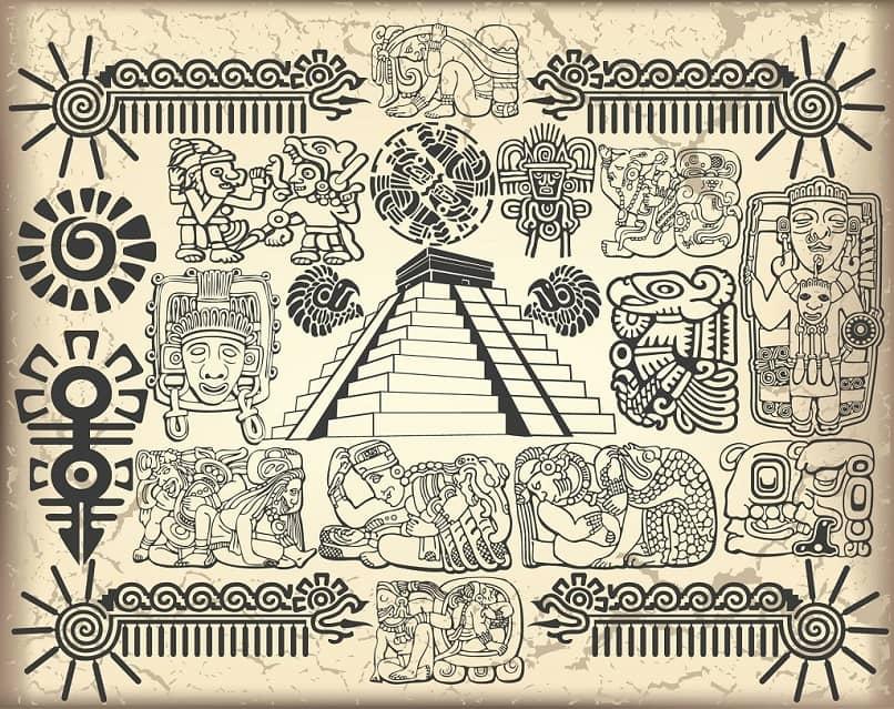 mayan symbols pyramids shapes