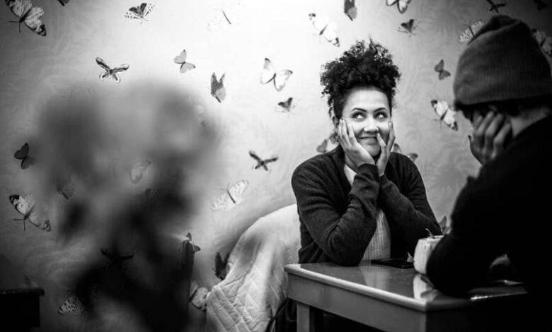 black white butterfly woman
