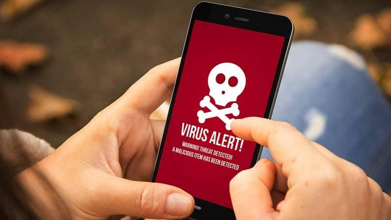 person see danger virus mobile screen