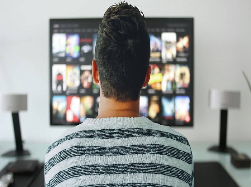 back view of person watching tv