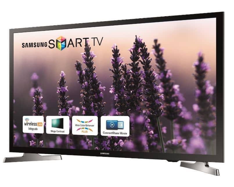 samsung smart tv with flower background