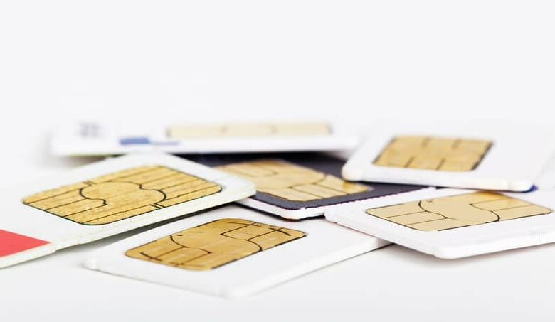 sim card in pile for cell phone tray