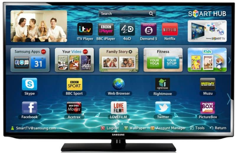 smart tv with application menu