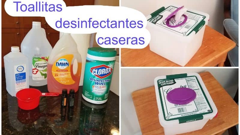 homemade disinfectant towels collage