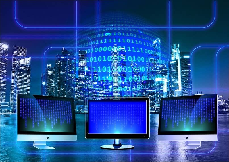 monitors showing binary codes that integrate with the network on a blue background with buildings